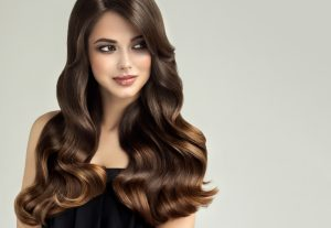 Brunette girl with long, healthy hair